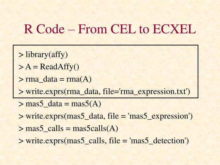 R Code – From CEL to ECXEL