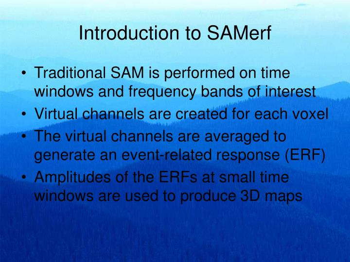 Introduction to SAMerf