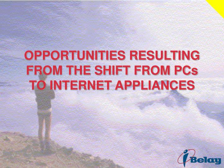 OPPORTUNITIES RESULTING FROM THE SHIFT FROM PCs TO INTERNET APPLIANCES