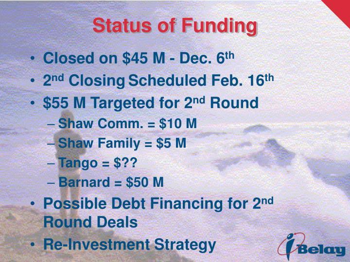 Status of Funding