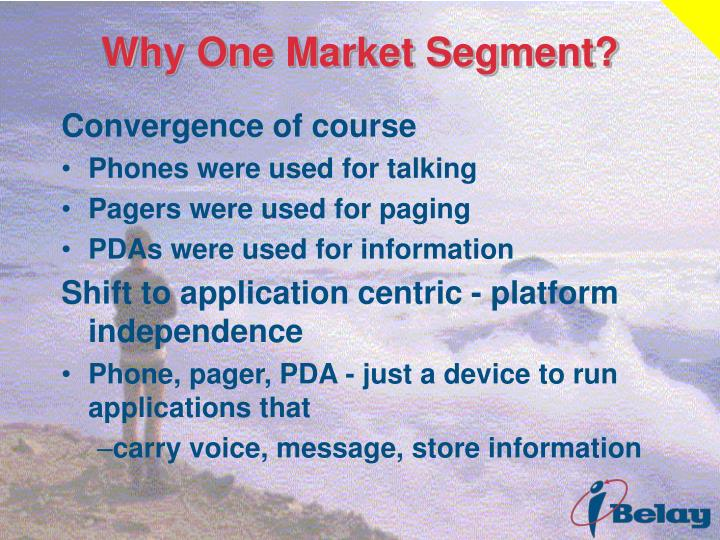 Why One Market Segment?