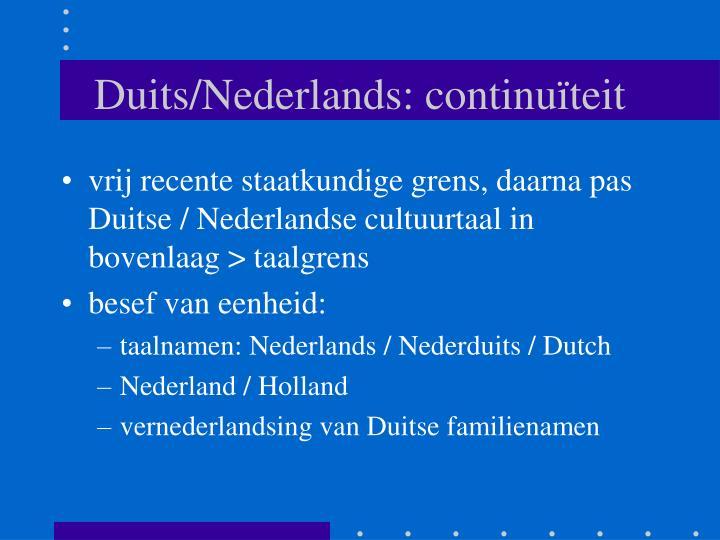 Duits/Nederlands: continuïteit