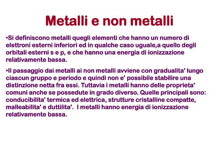 Metalli e non metalli