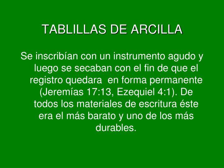 TABLILLAS DE ARCILLA