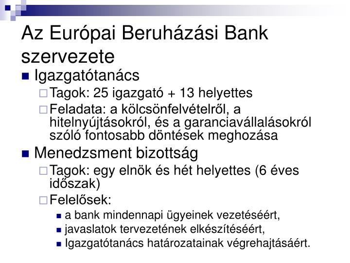 Az Európai Beruházási Bank szervezete