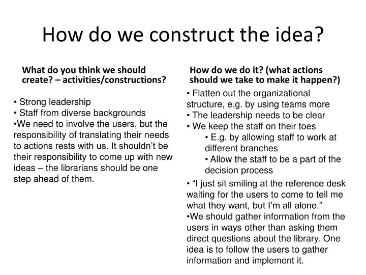 How do we construct the idea?