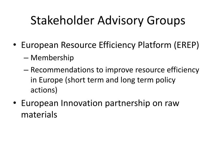 Stakeholder Advisory Groups