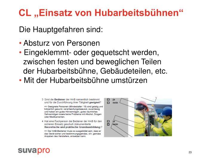 """CL """"Einsatz von Hubarbeitsbühnen"""""""