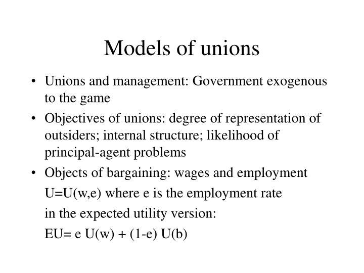 Models of unions
