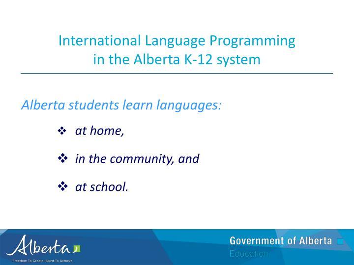 International Language Programming