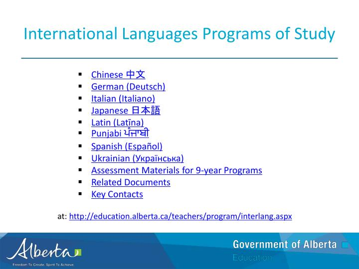 International Languages Programs of Study