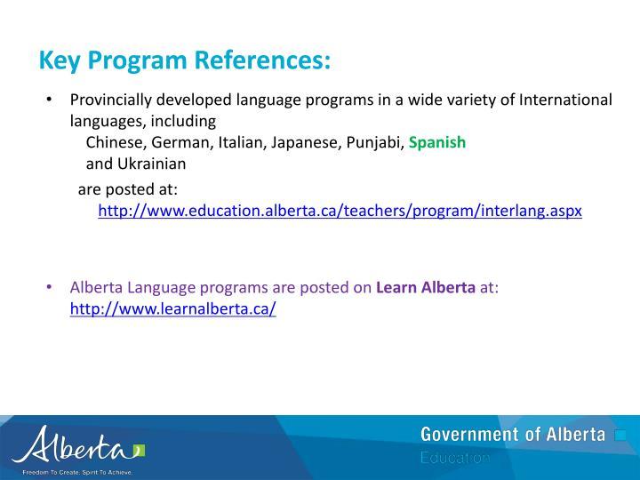 Key Program References: