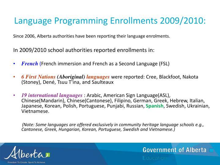 Language Programming Enrollments 2009/2010: