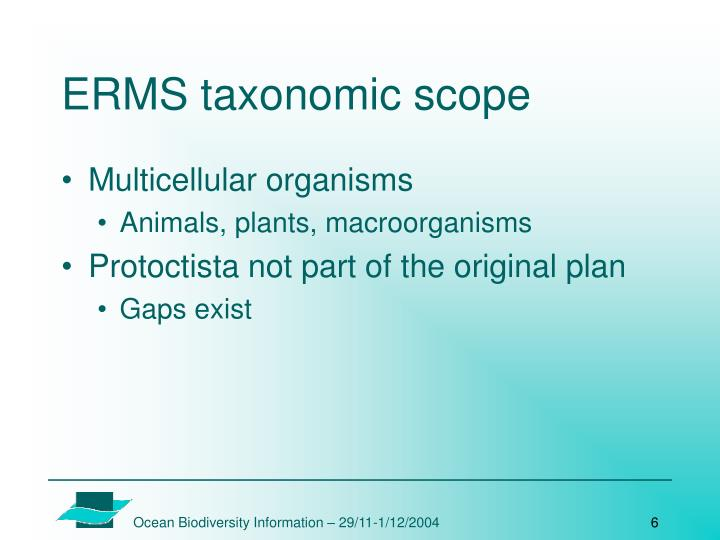 ERMS taxonomic scope