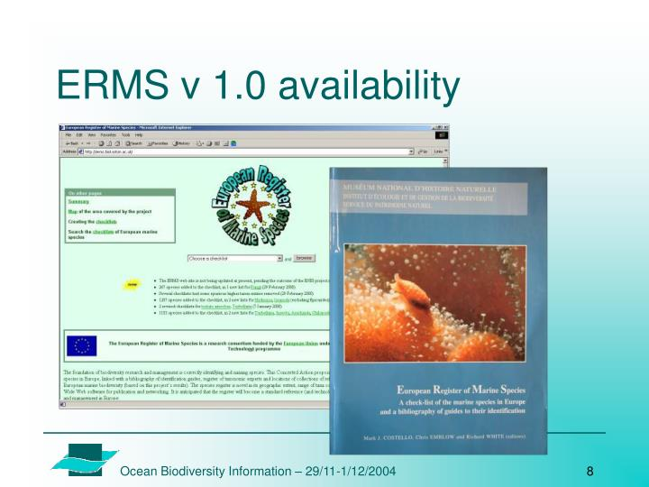 ERMS v 1.0 availability