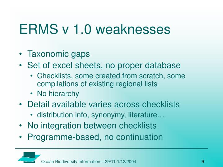 ERMS v 1.0 weaknesses