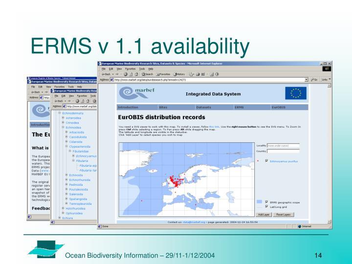 ERMS v 1.1 availability