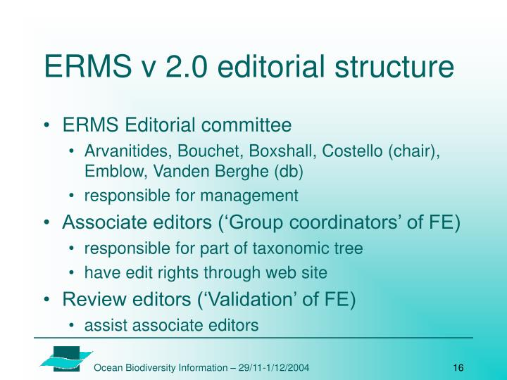 ERMS v 2.0 editorial structure