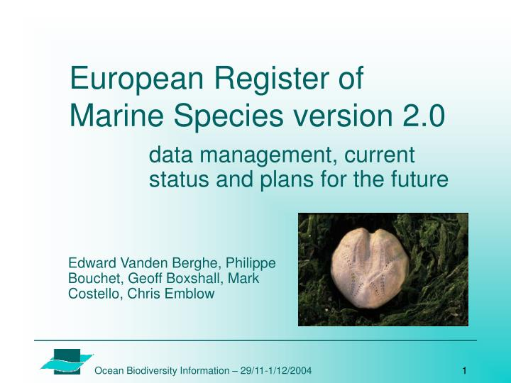 European register of marine species version 2 0