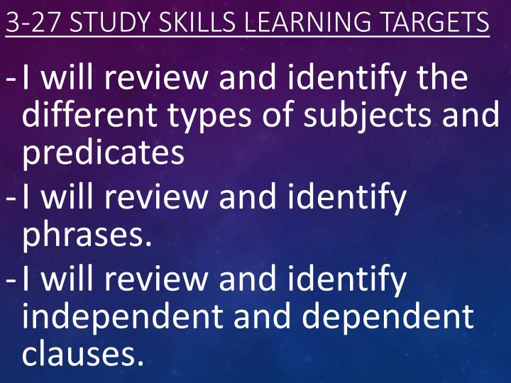 3 27 study skills learning targets