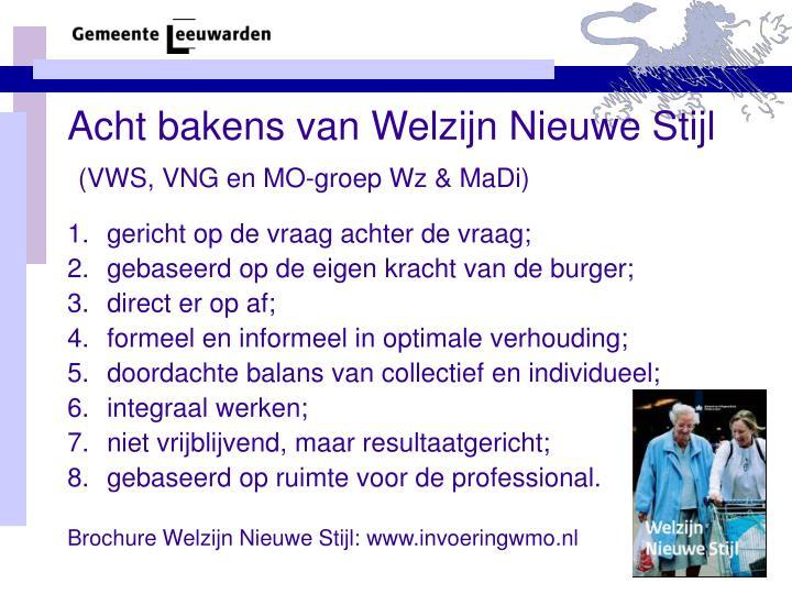 Acht bakens van Welzijn Nieuwe Stijl