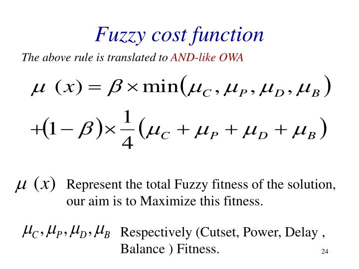 Fuzzy cost function