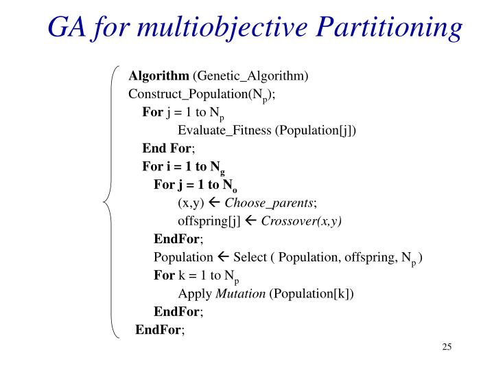 GA for multiobjective Partitioning