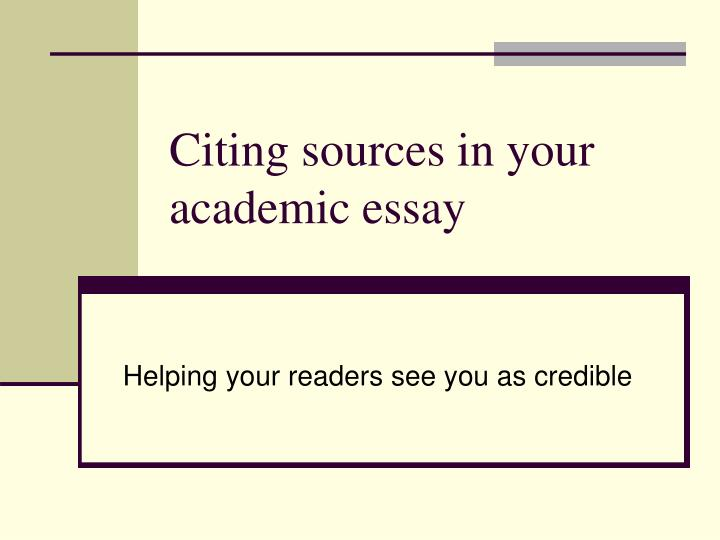 Citing sources in essay