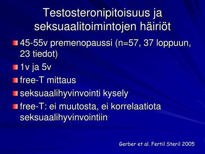 Testosteronipitoisuus ja seksuaalitoimintojen häiriöt