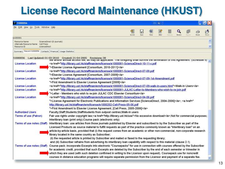 License Record Maintenance (HKUST)
