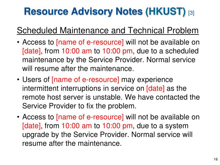 Resource Advisory Notes