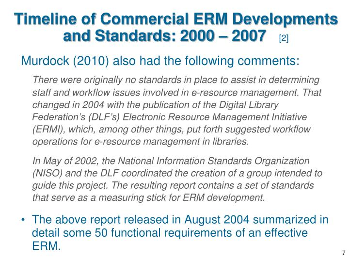 Timeline of Commercial ERM Developments and Standards: 2000 – 2007