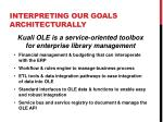 interpreting our goals architecturally