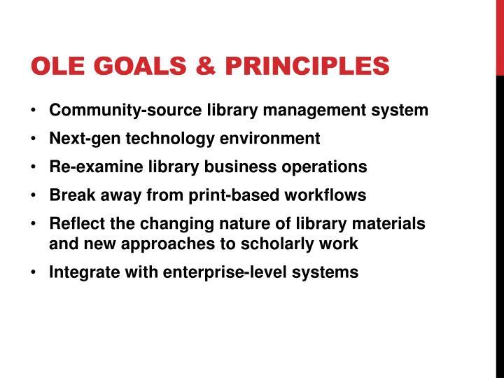 OLE goals & principles