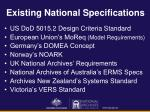 existing national specifications