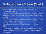 biology honors criteria cont