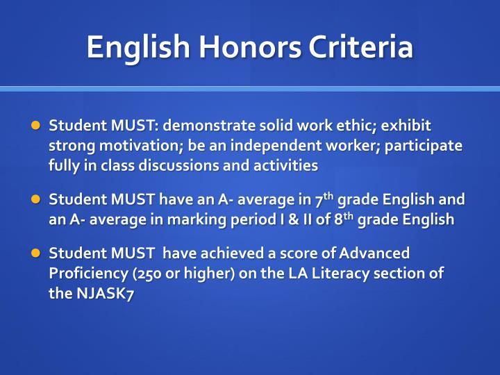 English Honors Criteria