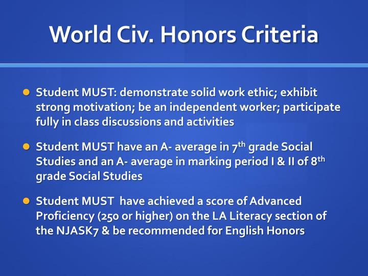 World Civ. Honors Criteria