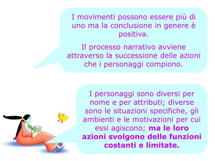 I movimenti possono essere più di uno ma la conclusione in genere è positiva.