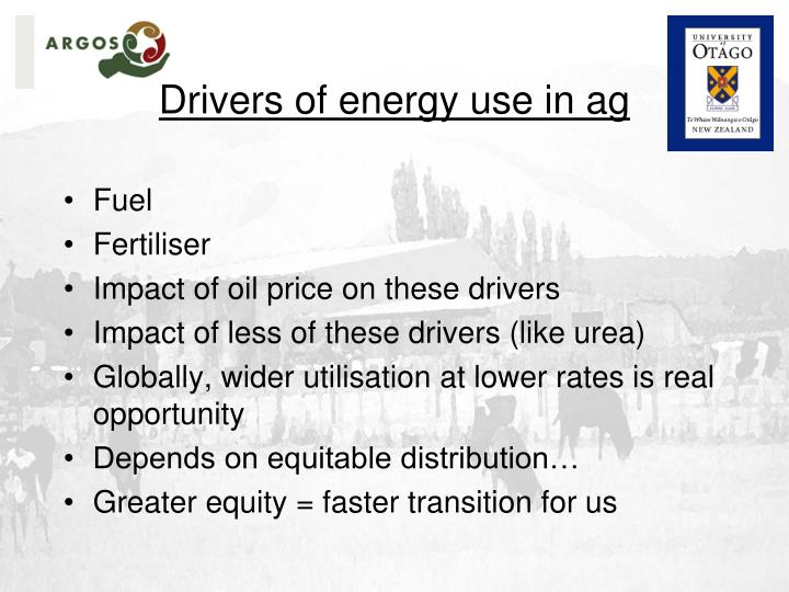 Drivers of energy use in ag
