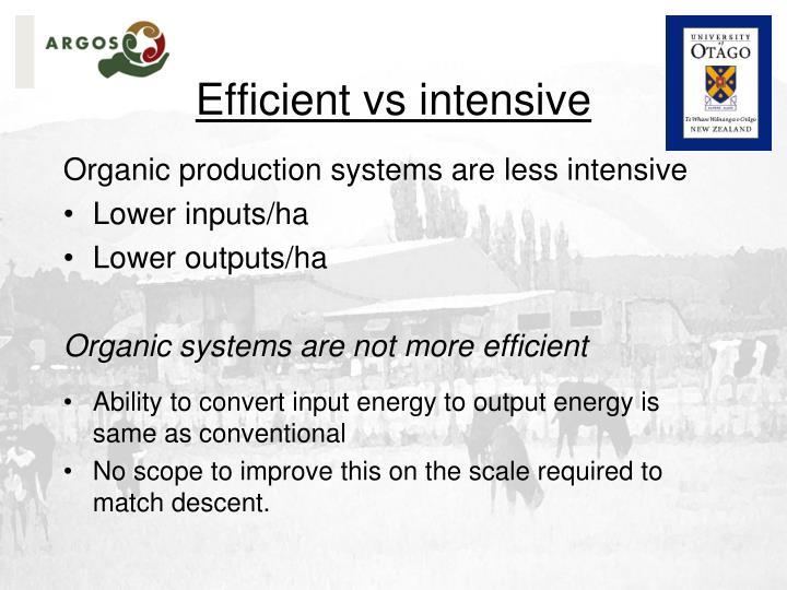 Efficient vs intensive