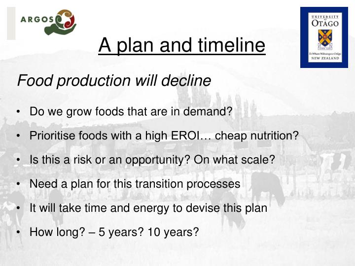 A plan and timeline