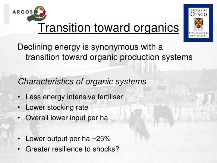 Transition toward organics
