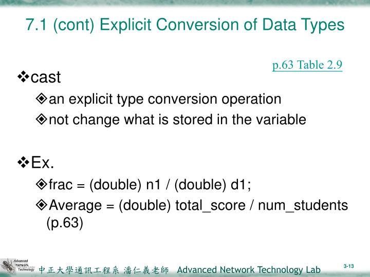 7.1 (cont) Explicit Conversion of Data Types