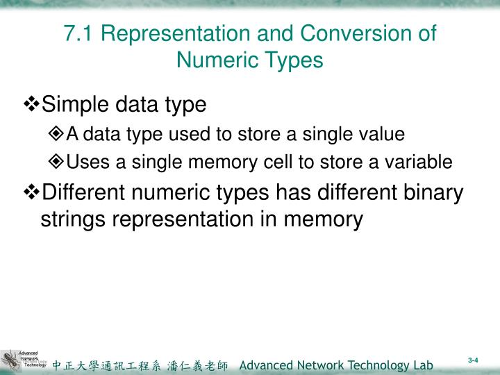 7.1 Representation and Conversion of Numeric Types