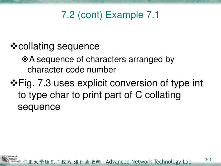 7.2 (cont) Example 7.1