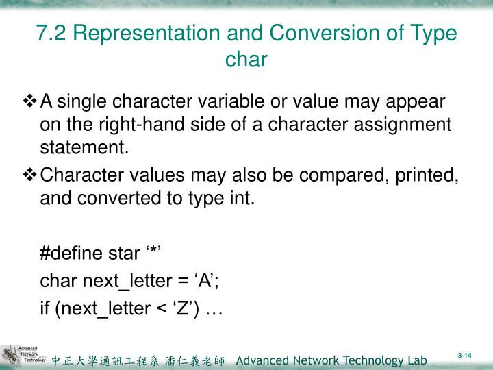 7.2 Representation and Conversion of Type char