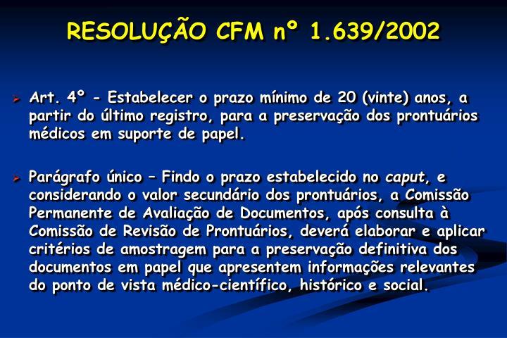 RESOLUÇÃO CFM nº 1.639/2002