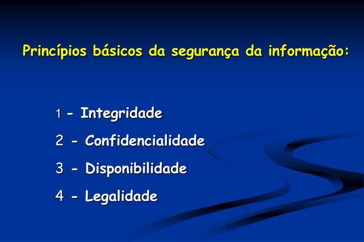 Princípios básicos da segurança da informação: