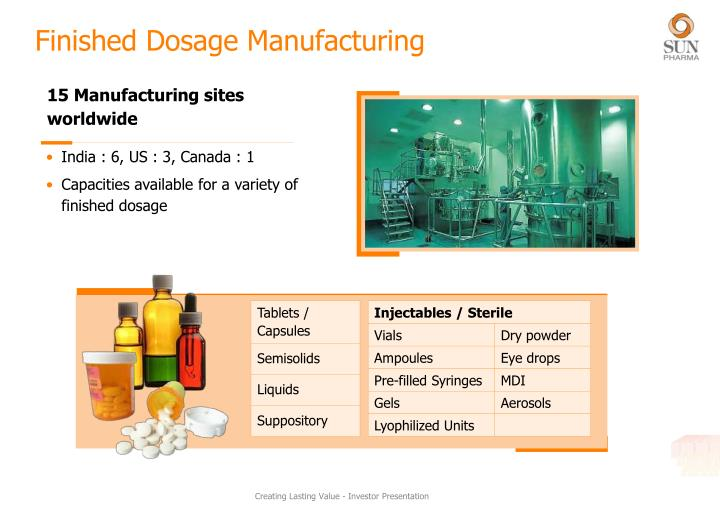 Finished Dosage Manufacturing